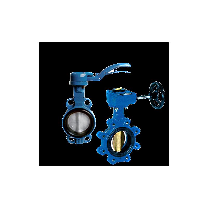 Przepustnica bezkołnierzowa SYLAX-Uranie z napędem ręcznym dźwigniowym